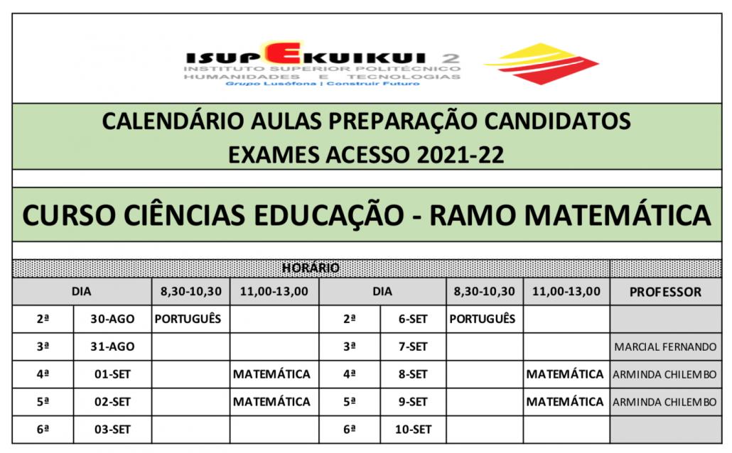 CIÊNCIAS DA EDUCAÇÃO - RAMO MATEMÁTICA