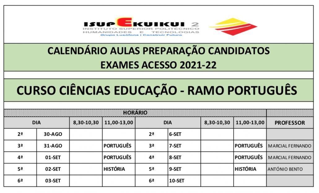 CIÊNCIAS DA EDUCAÇÃO - RAMO PORTUGUÊS